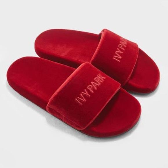 1795dcd07 IVY PARK Shoes | Nwob Chili Red Velvet Pool Slides Sz 39 | Poshmark